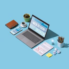 Professional web design and website development service: isometric computer with web page layout project and desktop work tools